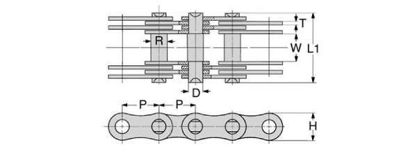 однорядная роликовая цепь ПР